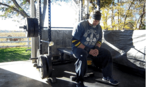 Michael Wailes uses his outdoor bench in all types of weather