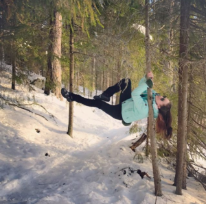 Katja Mäkynen loves pole fitness in her home or out in nature