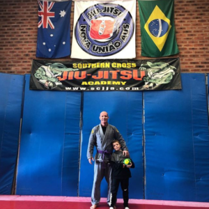 Dave Atkins and his son after a session at GeriJitsu