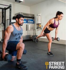 Miranda Oldroyd and Julian Alcaraz perform a Street Parking workout in their garage gym
