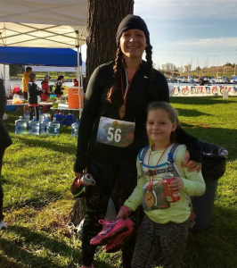 At home athlete AnnieLori Thompson and her daughter completing a five mile trail run