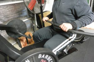 conventional bar set up for a low pulley row