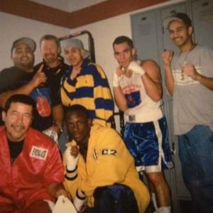 Ross Enamait in an old picture with his fight team