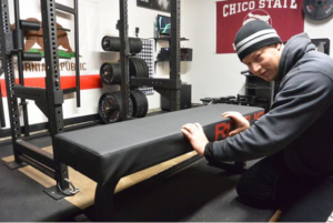Joe Gray testing the Thompson Fat Pad for Garage Gym Magazine