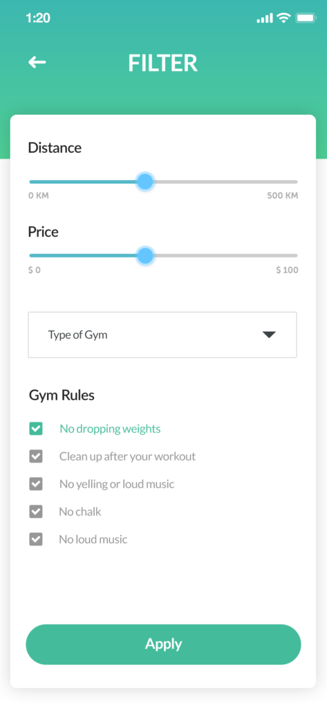 pricing and gym information page from airgym timeshare app