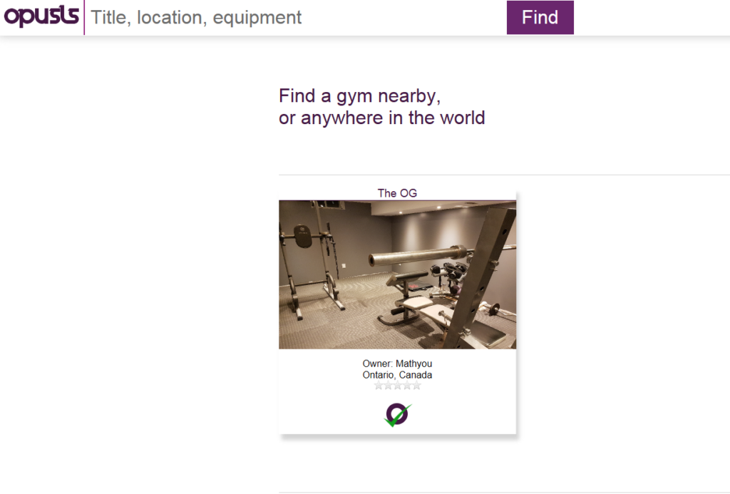 Landing page for opusls.com a website that lets owners timeshare their home gym