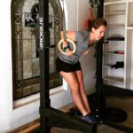 PRess It Wristwraps founder Rachel Baird bangs out some ring dips in her garage gym