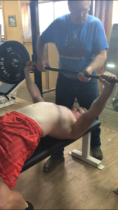 Bench pressing at BarnFit Gym