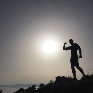 Obstacle course racer Tim Geurts on a Greek mountainside