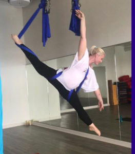 Brandis Atwood incorporates aerial yoga into her training