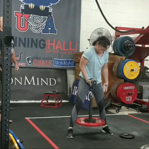Julia Williams with a World Record on the 3 inch Raptor Handle at an Armlifting USA competition