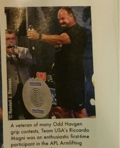 Article in MILO magazine featuring Armlifting USA Secretary General Riccardo Magni