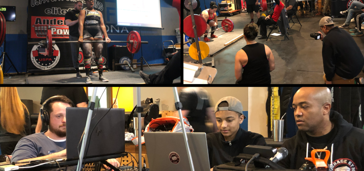 snapshot of the action from Garage Gym Life Media's livestream of the USPA Drug Tested Winter Classic Recap