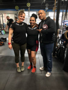 with Coach Lis Saunders and her lifter, Karina Espinosa during the USPA Drug Tested Winter Classic